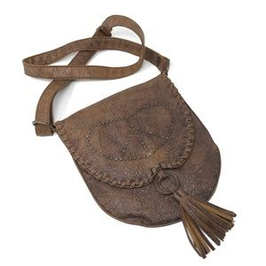 Handbags - Brown faux leather studded tassel Crossbody purse